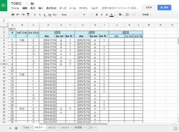 toeic-study-log-sheets
